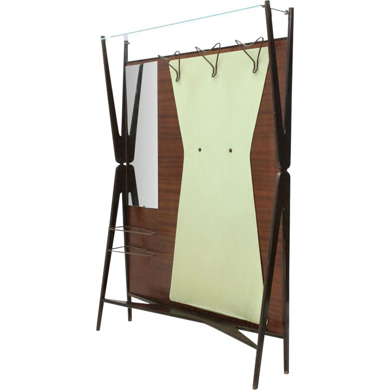 Vintage italian coat hanger with mirror and umbrella stand, 1950s