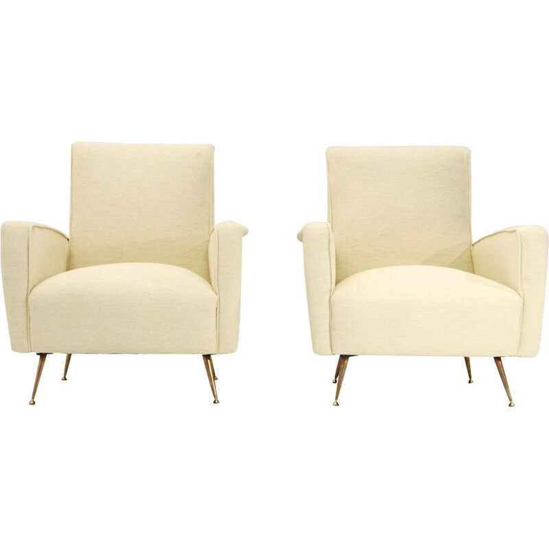 Pair of vintage italian cream-colored armchairs, 1950s