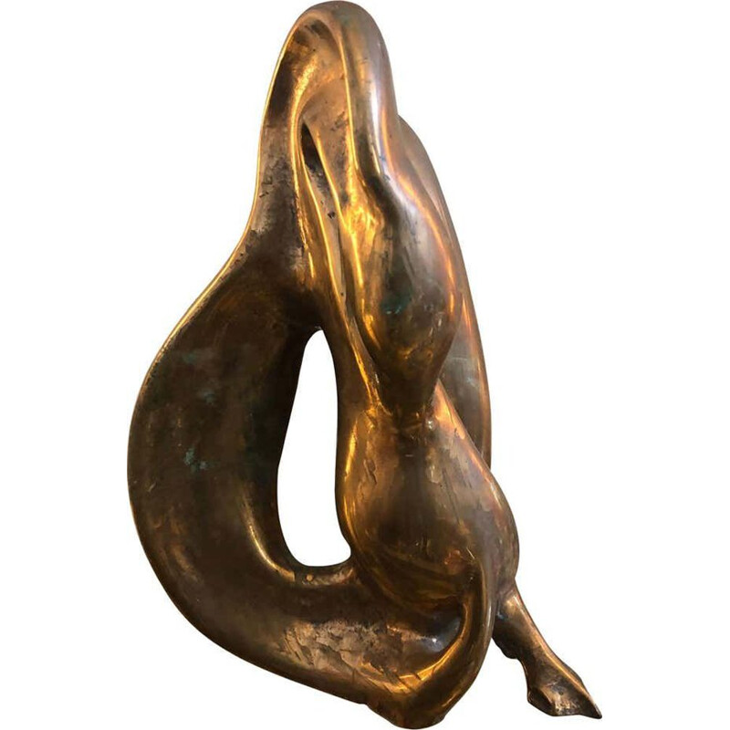 Vintage brass Italian sculpture of a swan, 1960