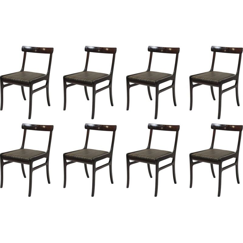 Set of Eight vintage Refinished Mahogany Dining Chairs by Ole Wanscher , Inc. Reupholstery