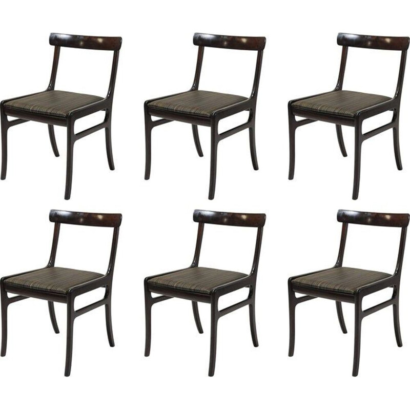 Set of Six vintage Refinished Mahogany Dining Chairs by Ole Wanscher, Inc. Reupholstery
