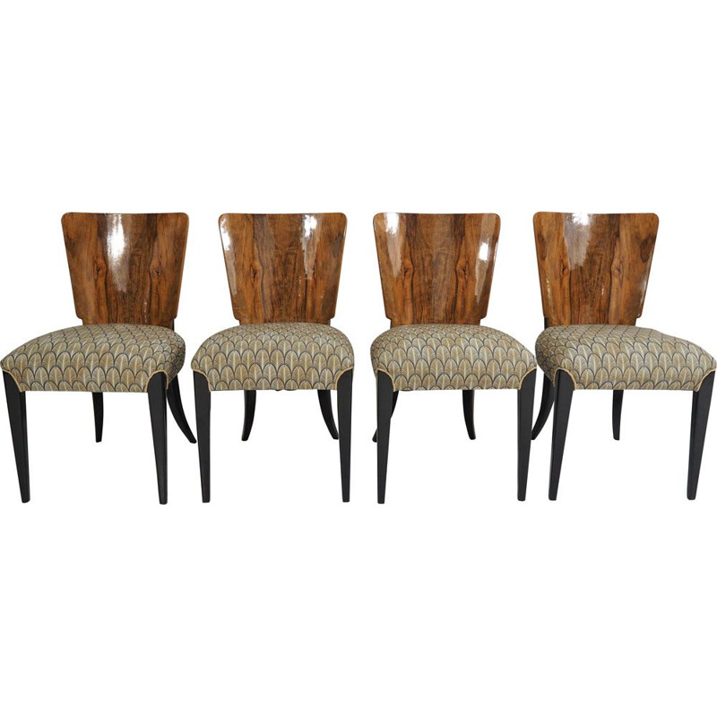Set of 4 vintage Art Deco Dining Chairs by Jindřich Halabala, 1940