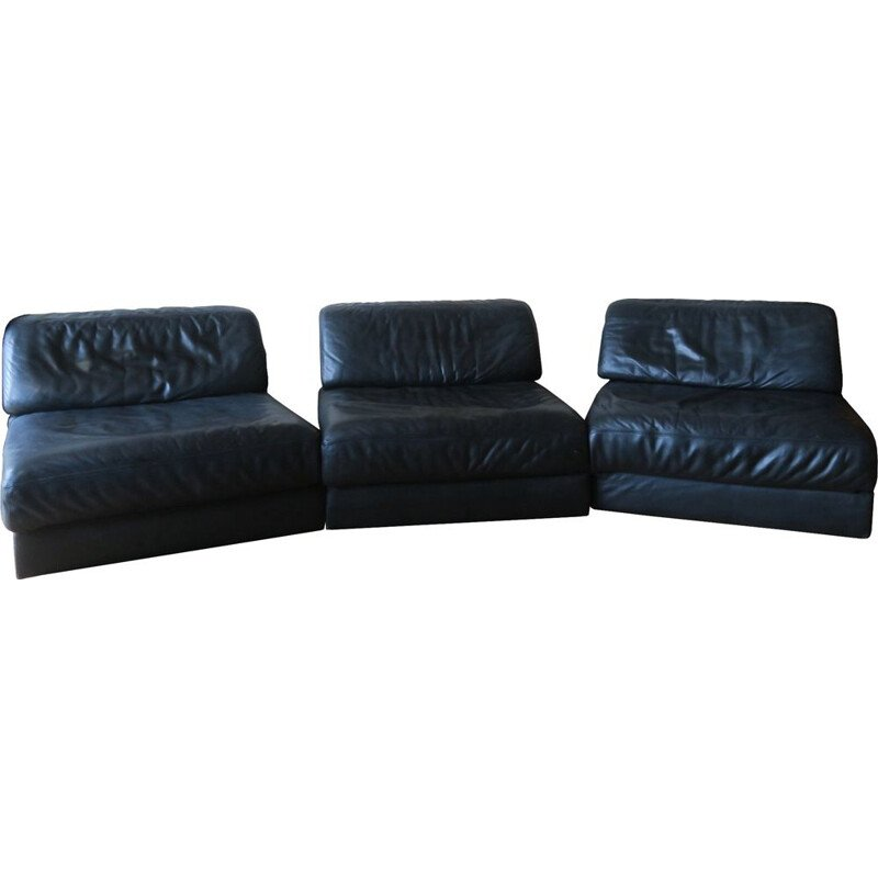 Vintage De Sede D76 Modular 3-Part Leather Sofa  Daybeds