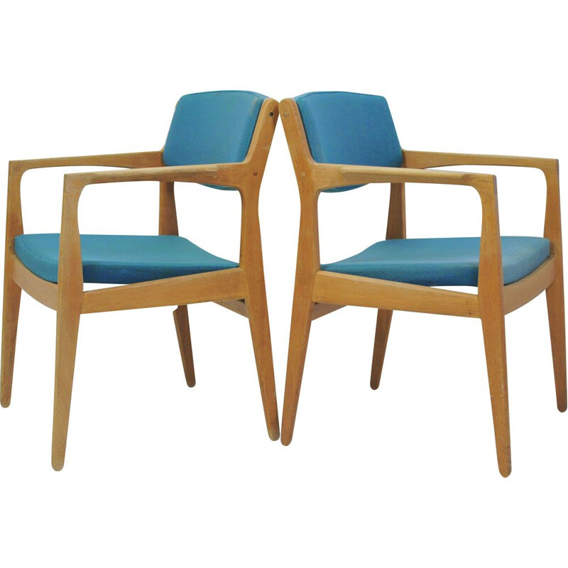 Pair of vintage Refinished Erik Buch Oak Armchairs by Orum Mobler, Inc. Reupholstery