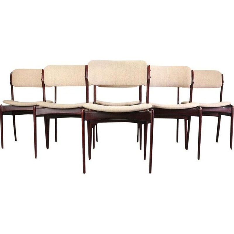 Set of Six vintage Refinished Dining Chairs in Tanned Oak by Erik Buch, Inc. Reupholstery