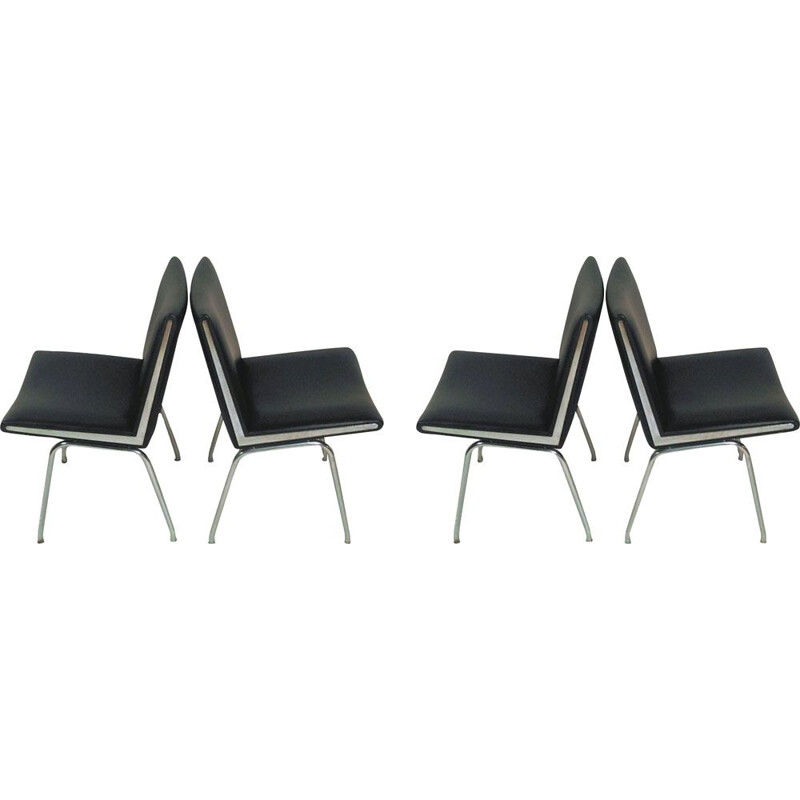 Set of Four vintage Airport Lounge Chairs in Black Hans J. Wegner by A.P. Stolen