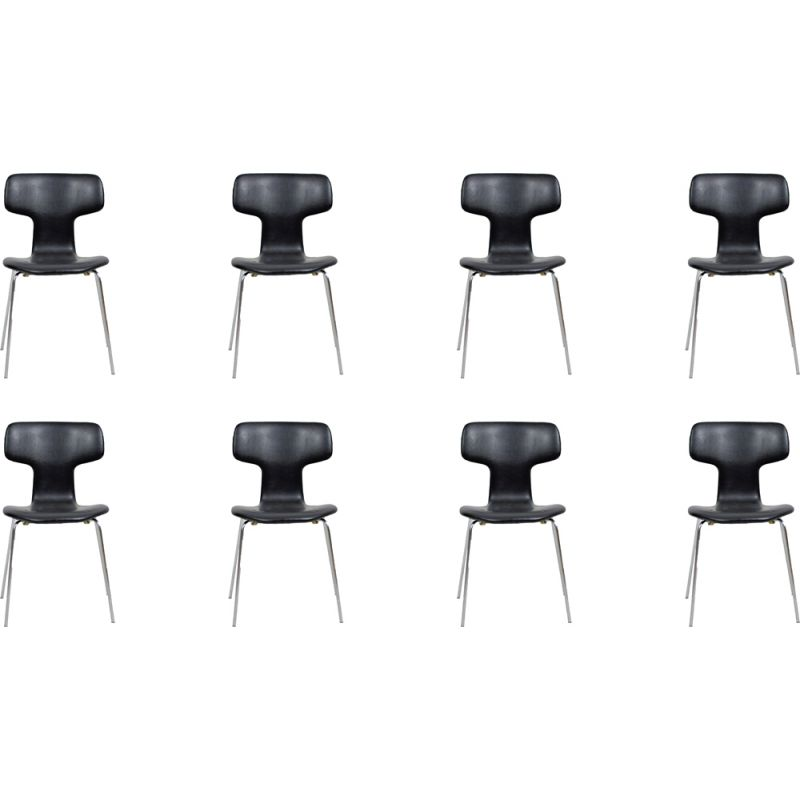 Set of 8 vintage T Chairs by Arne Jacobsen from Fritz Hansen, 1960s