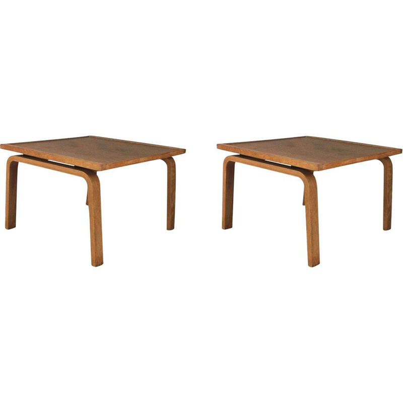 Set of 2 vintage oak footstools by Arne Jacobsen, 1965s