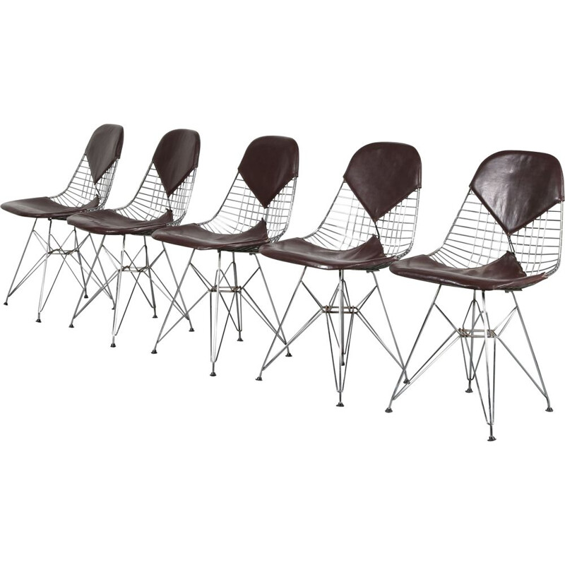 Set of 5 Vintage Bikini dining chairs  designed by Charles & Ray Eames, manufactured by Herman Miller 1960