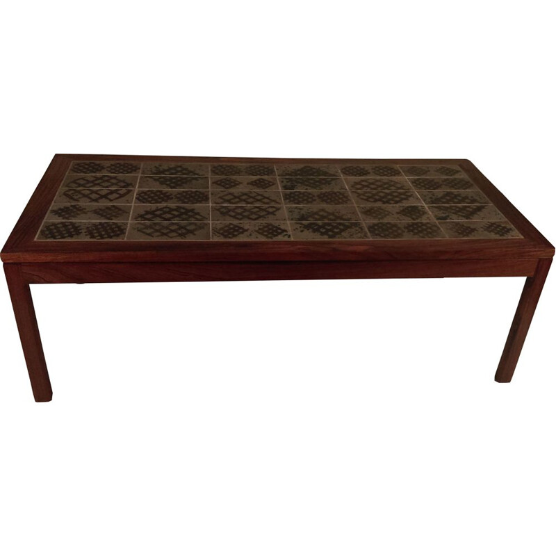 Vintage tile Coffee Table in Rosewood by Tue Poulsen, 1960s