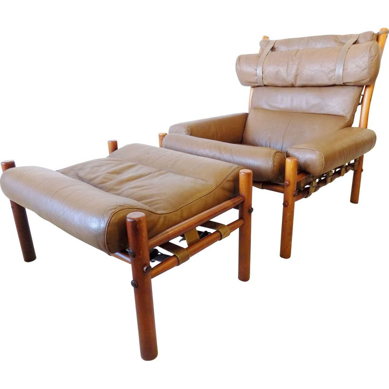 Vintage Inca armchair with ottoman in caramel leather by Arne Norell for Norell AB