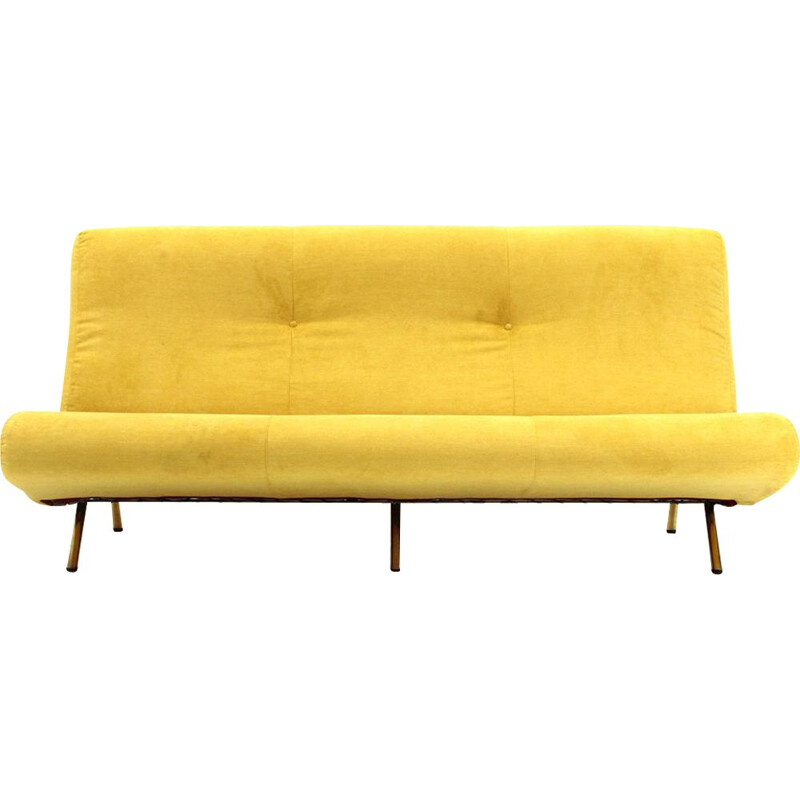Vintage modern 3-seater yellow velvet sofa by Marco Zanuso for Arflex , 1950