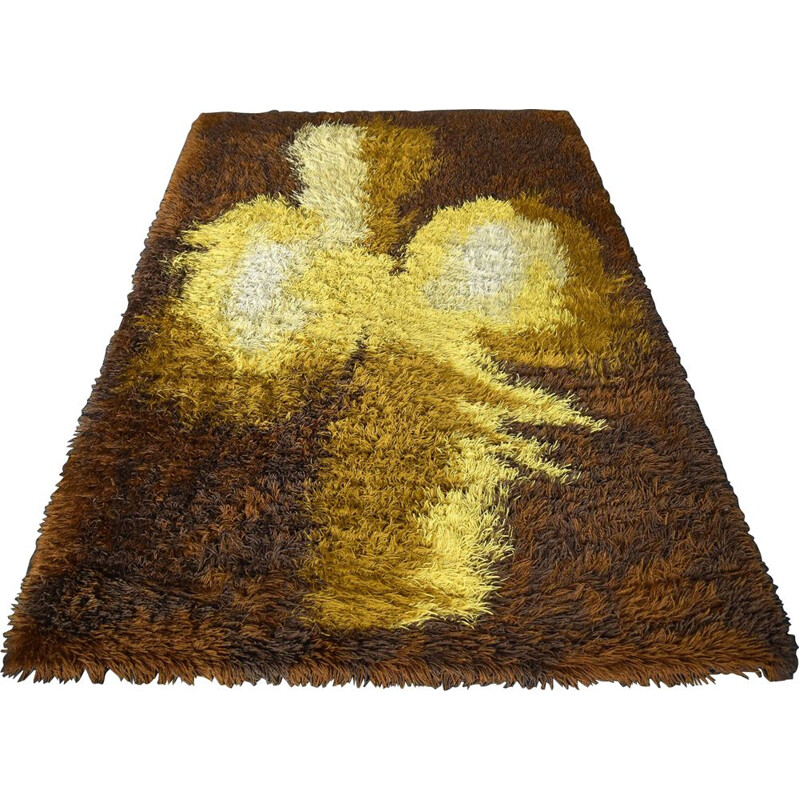 Large Vintage Abstract Wool Carpet from 1960s