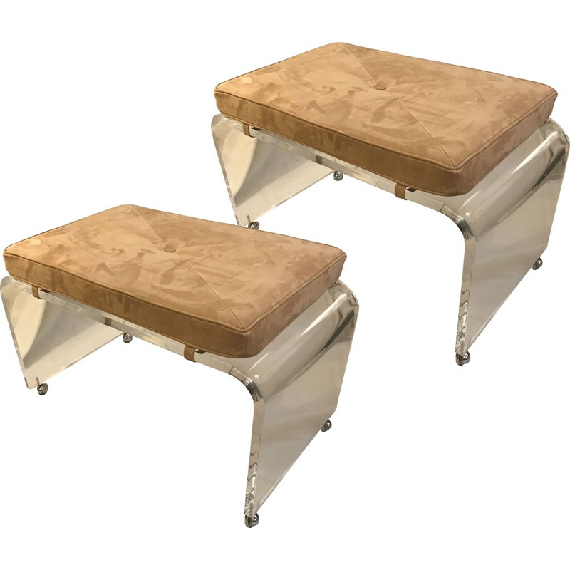 Pair of vintage plexiglass stools on wheels
