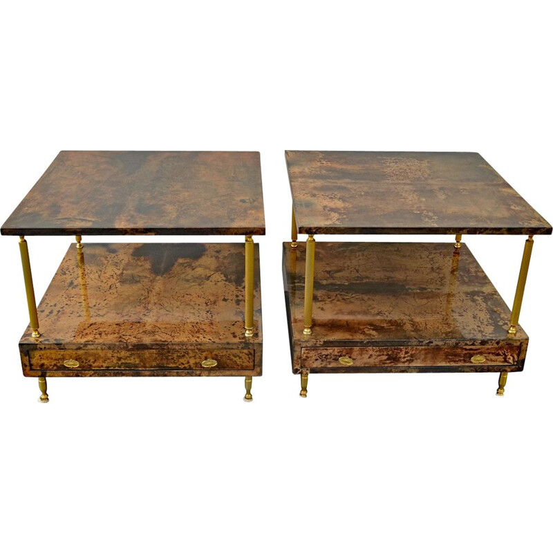 Pair of 2 Nightstands by Aldo Tura, 1960s