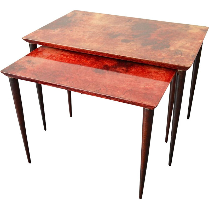 Vintage Red, lacquered Goatskin Nesting Tables by Aldo Tura for Tura Mobili, Italy 1960s.