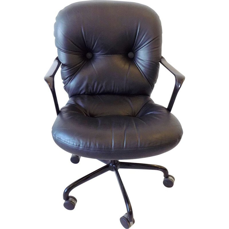 Vintage black leather office chair 2328 by Bruce Hannah & Andrew Morrison for Knoll Int