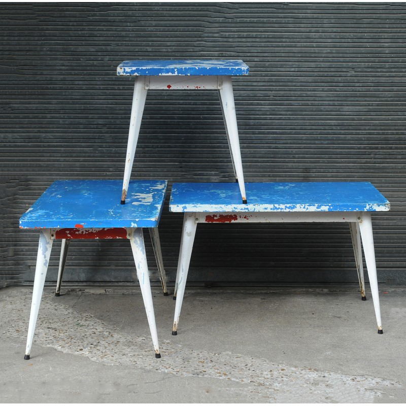 Square garden table in blue painted metal, Xavier PAUCHARD - 1950s