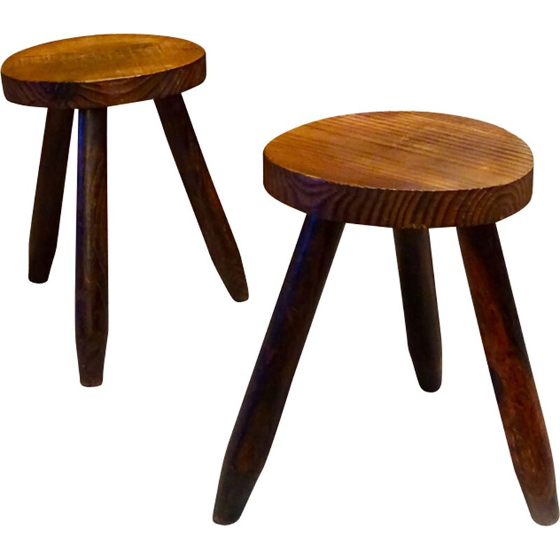 Pair of vintage tripod stools, France, 1960