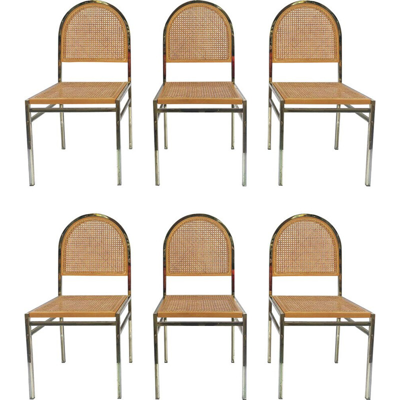 Set of 6 vintage Italian brass & cane dining chairs