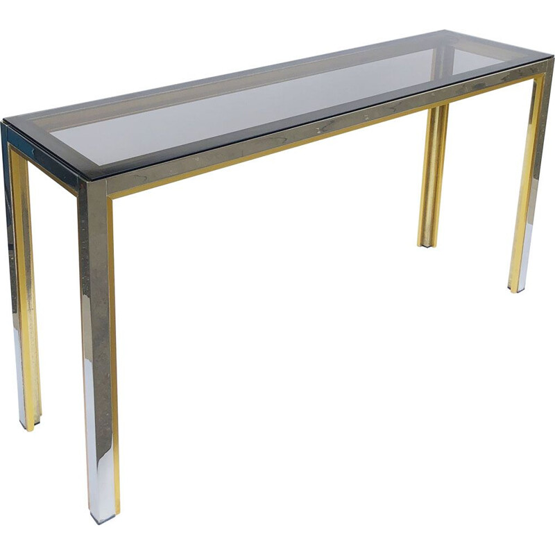 Vintage chrome and brass console by Renato Zevi