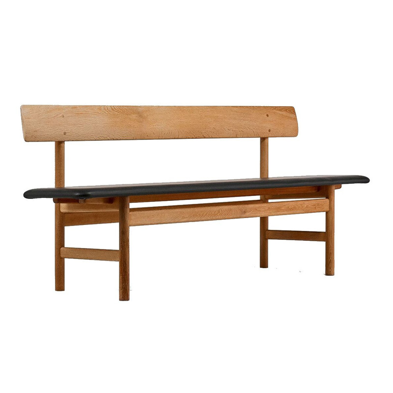 Vintage leather bench model 3171, Børge Mogensen for Fredericia, Denmark 1960