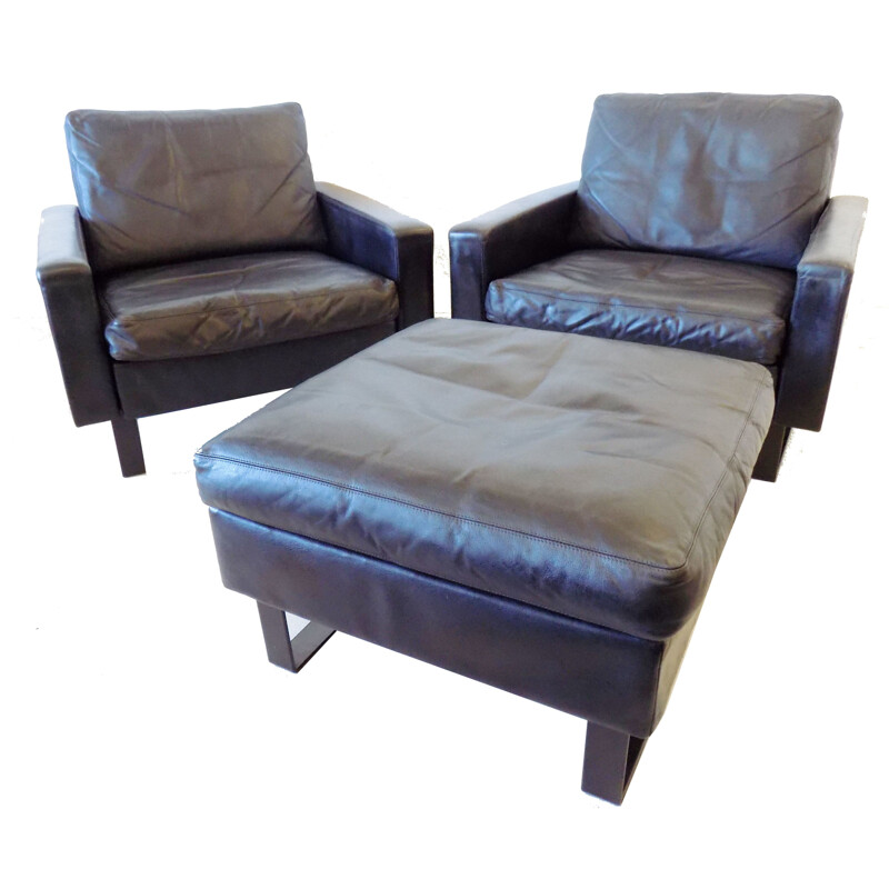 Set of 2 leather armchairs with ottoman by Friedrich Wilhelm Möller for COR, 1963