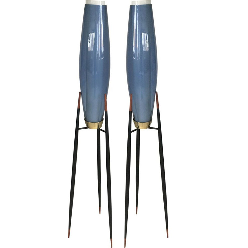 Pair of Danish Tripod Floor Lamps by Svend Aage Holm Sorensenen
