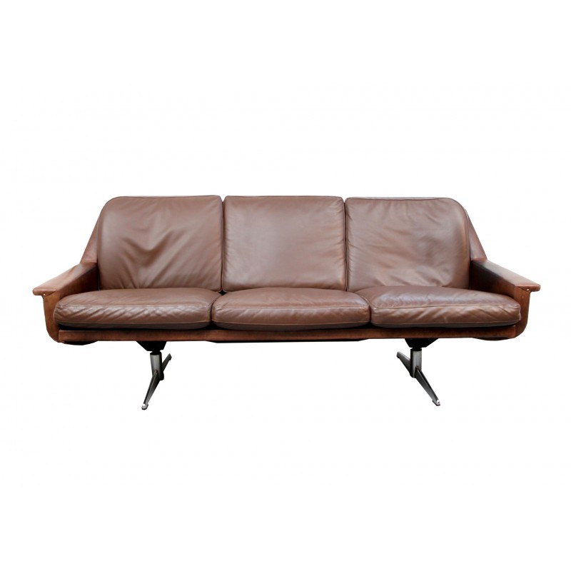 Outstanding 3 Seater Sofa In Brown Leather And Chromed Legs 1960S Ncnpc Chair Design For Home Ncnpcorg