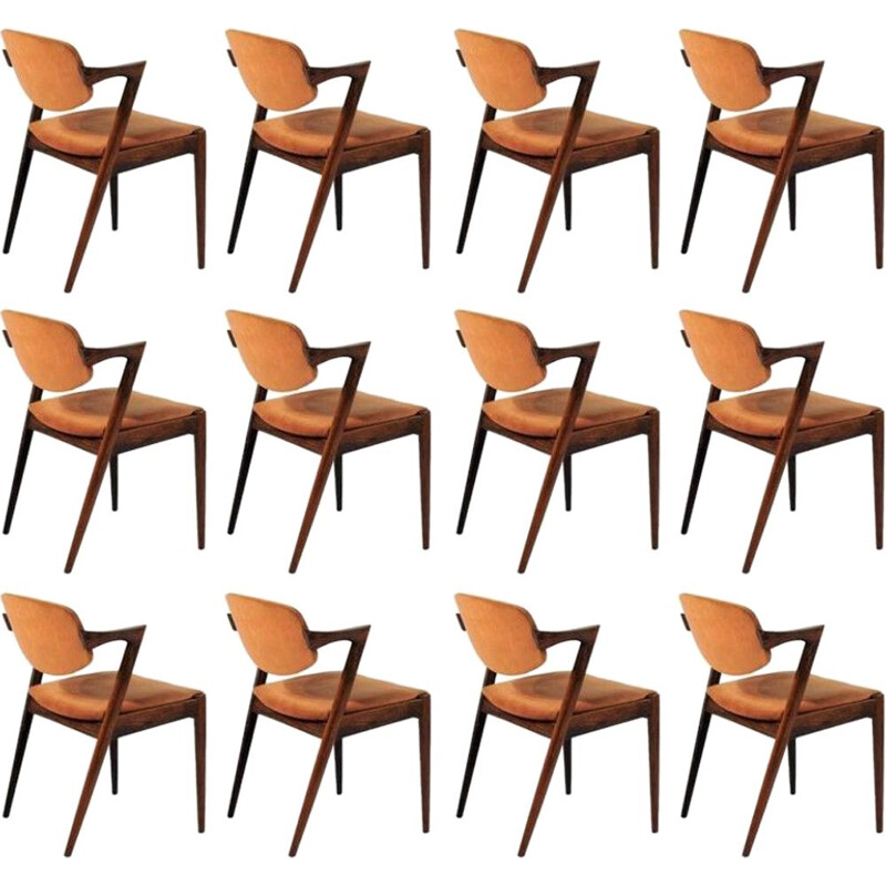 Set of 12 rosewood dining chairs by Kai Kristiansen