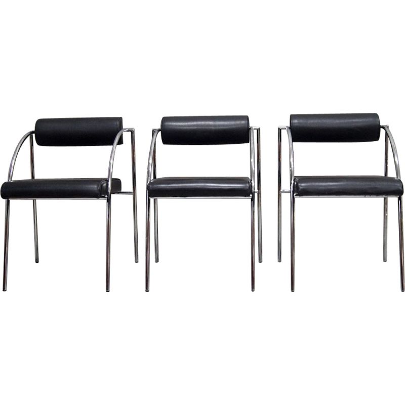 Set of 3 vintage dining chairs by Rodney Kinsman for Bieffeplast, 1980s