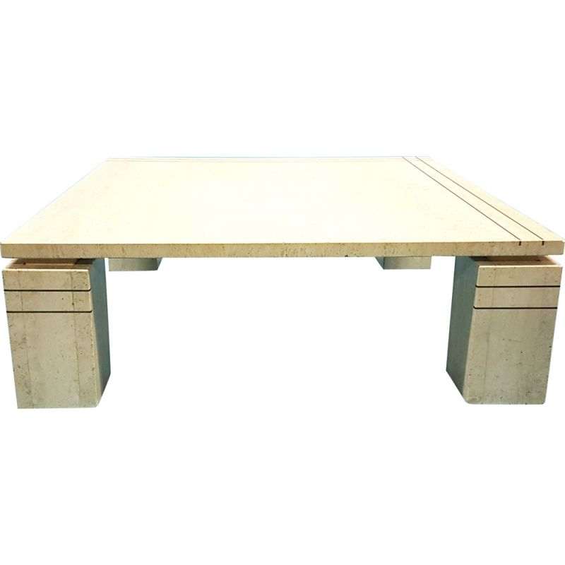 Vintage Italian travertine coffee table with brass details, 1970s