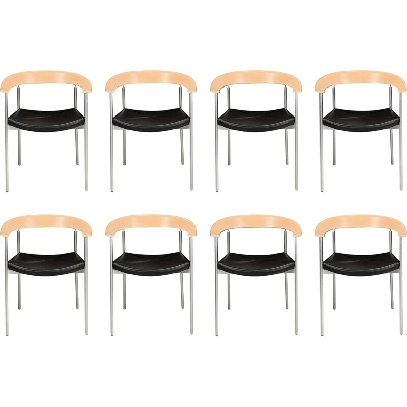 Set of 8 Johannes Foersom armchairs in steel and beech by Paustian, 1990s