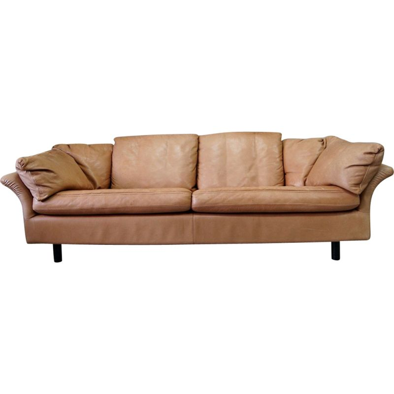 Vintage Swedish 3-seater leather sofa from Dux, 1970s
