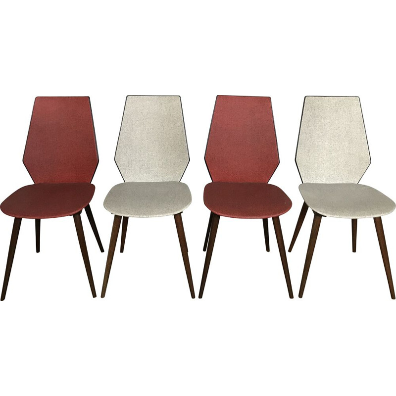 Suite of 4 vintage BAUMANN chairs in leatherette, 1950-1960