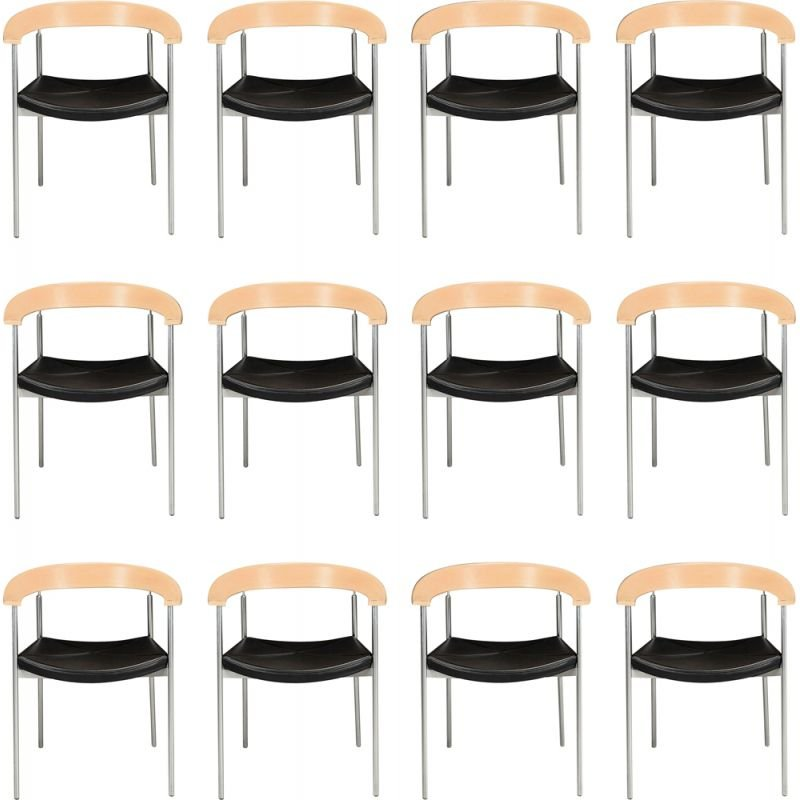 Set of 12 vintage Johannes Foersom armchairs in steel and beech by Paustian, 1990s
