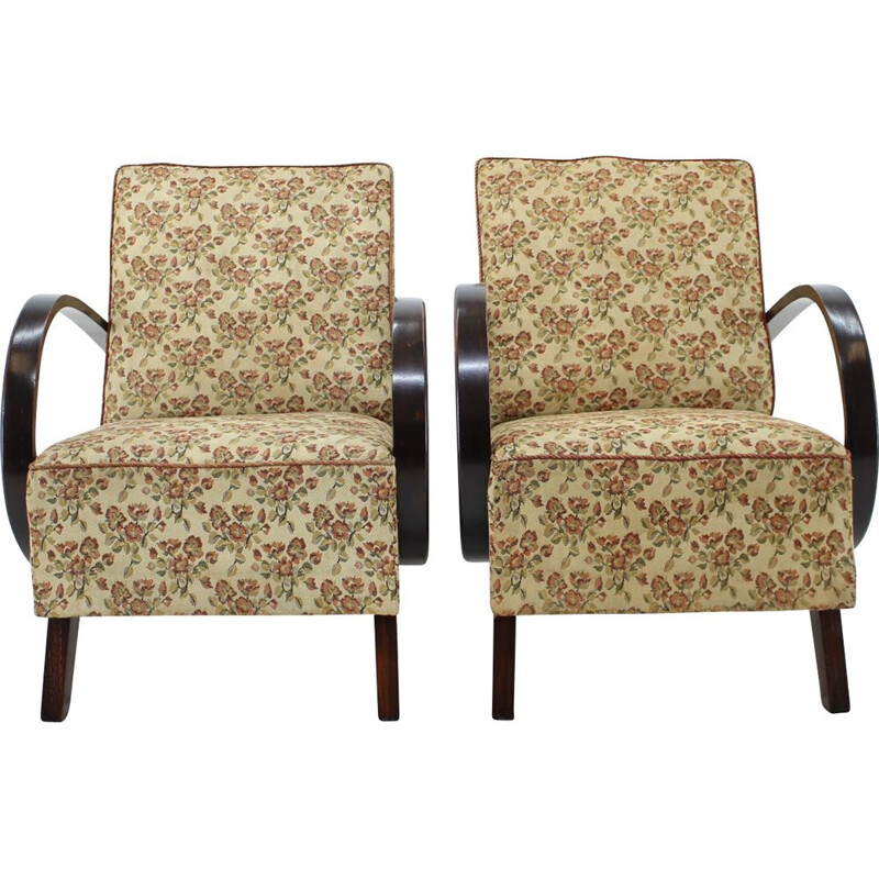Pair of armchairs in wood and fabric by Jindřich Halabala, 1960s