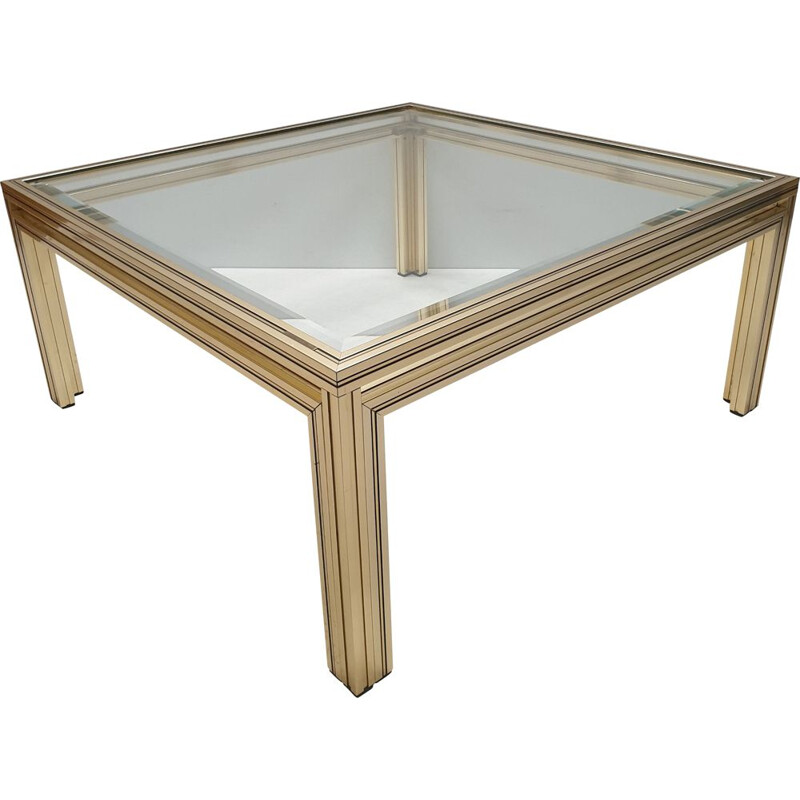 Gold-plated square coffee table by Pierre Vandel, 1970s