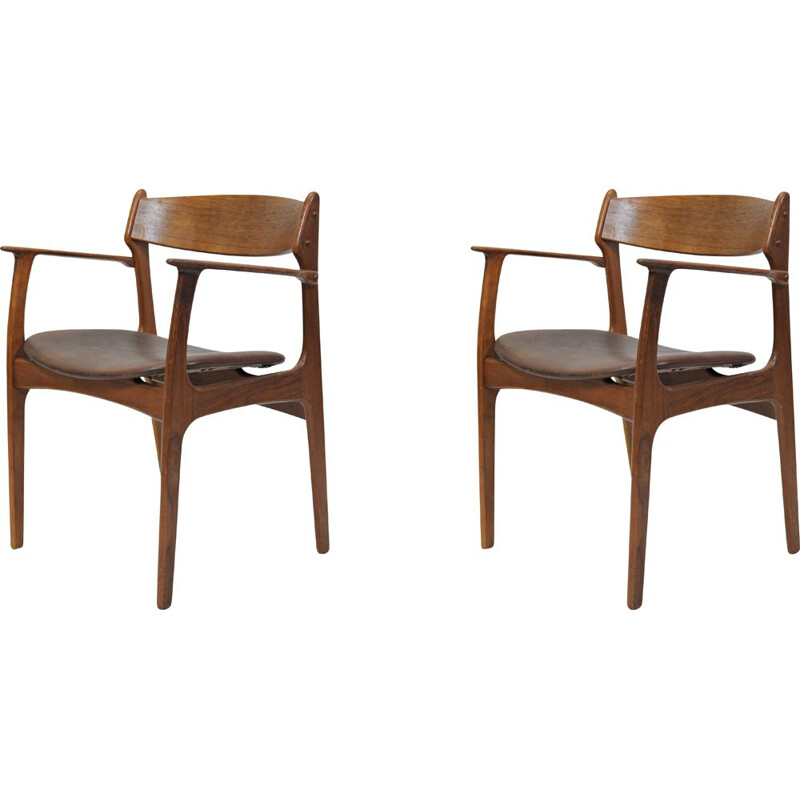 Set of Two Refinished Erik Buch Armchairs in Teak, Inc. Reupholstery 1950s