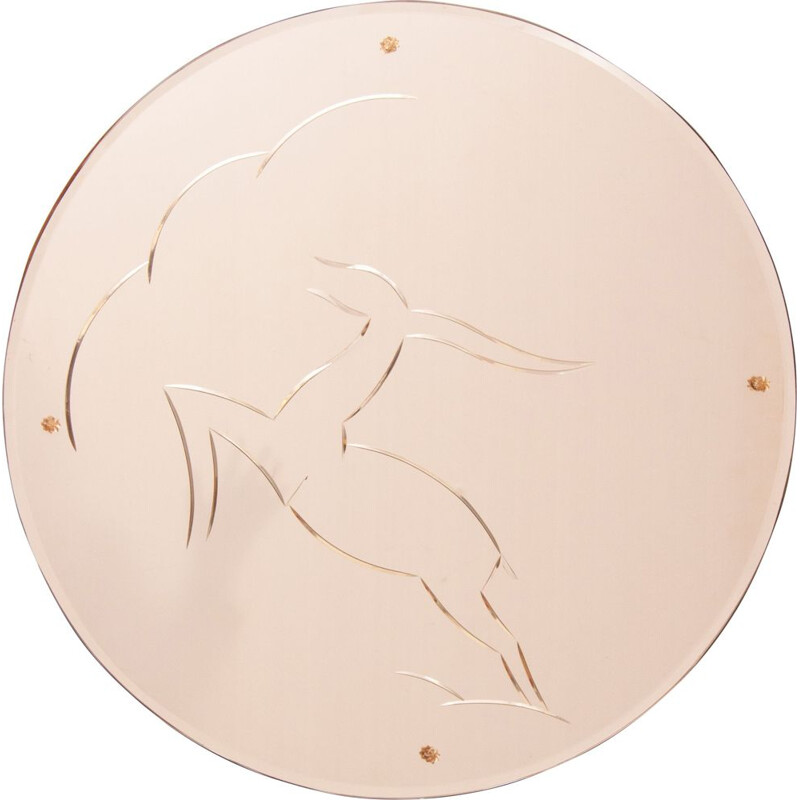 Art Deco Mirror with Leaping Gazelle Design on Peach Mirror Glass