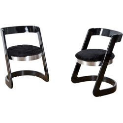Pair of black lacquered wooden, steel and faux fur chairs, Willy RIZZO - 1970s