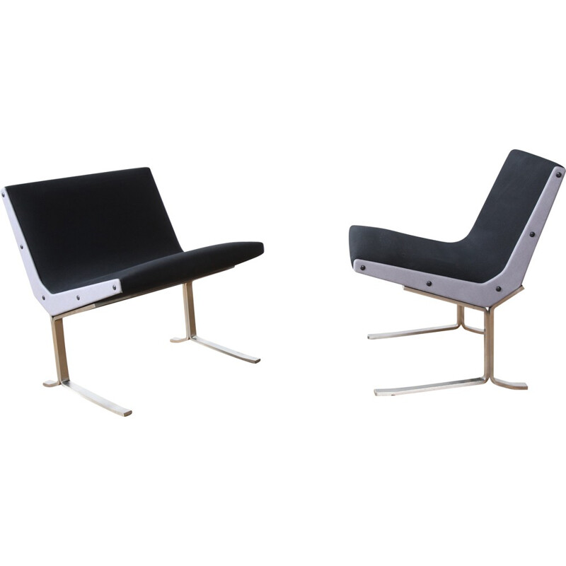 Pair of Formanova steel and fabric lounge chairs, Gianni MOSCATELLI - 1960s