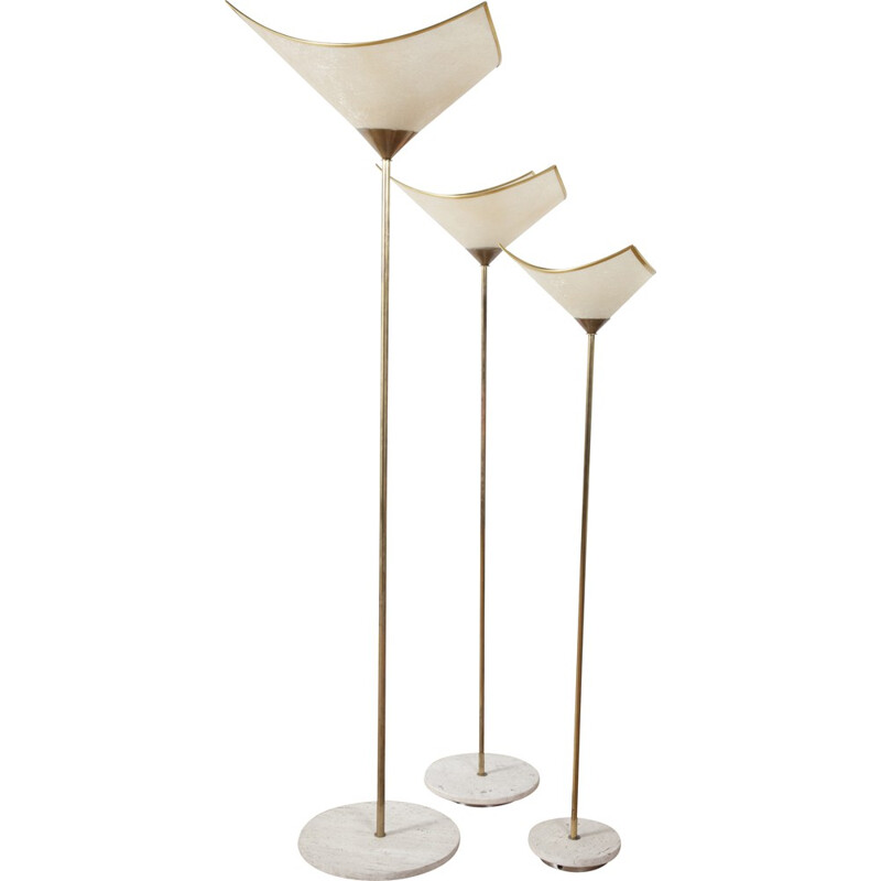 Set of 3 Produzione Ricerca Design floor lamps in fiberglass and marble - 1970s