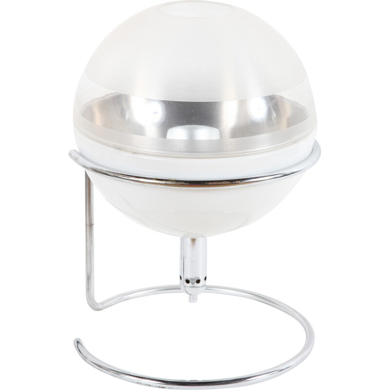 "Guzzini Italian round white ""Focus"" table lamp, Fabio LENCI - 1968"