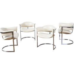 Set of 4 beige leatherette and chromed metal armchairs, Willy RIZZO - 1970s