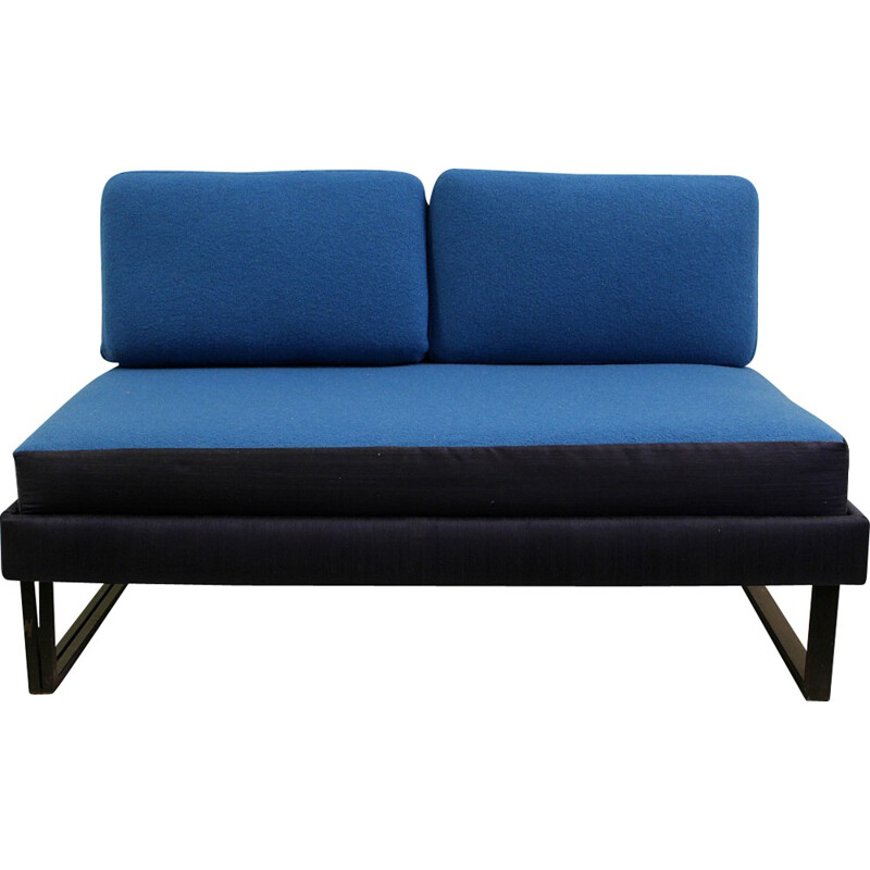 Convertible blue 2-seater sofa - 1970s