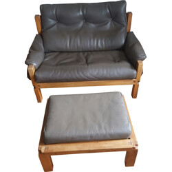 S22 sofa and its ottman in elm and leather, Pierre CHAPO - 1970s