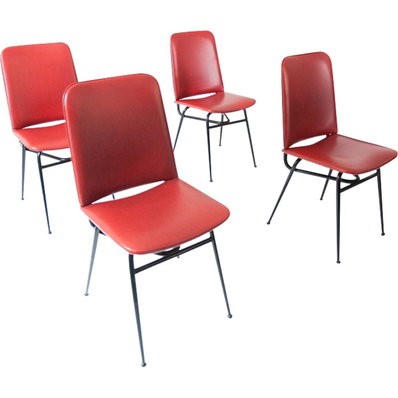Set of 4 Italian dinning chairs in red skai and metal - 1950s