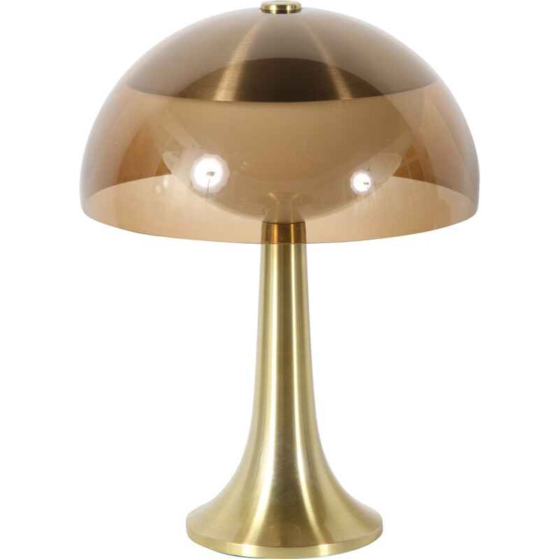 Lamperti lamp in opaline, metal and smoky methacrylate - 1970s