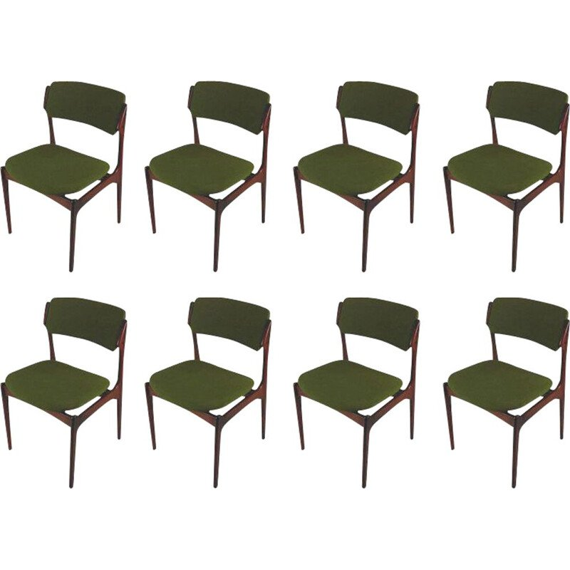 1960s Erik Buch Set of Eight Refinished Rosewood Dining Chairs Inc. Reupholstery